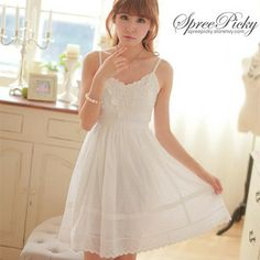 This dress would be perfect ;_;  Fresh Sweet Lace Jacquard Weave Strap Dress Free Shipping SP140696