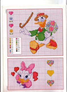 schemi punto croce di Gastone con mazzo di fiori e volto Paperina