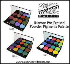 Mehron INtense Pro Pressed Powder Pigments Palette - Dazzle them with these amazing colors from Mehron!  Pigment-rich high-performing eye shadows that deliver a super long-lasting matte finish. Edgy, bright & sophisticated colors offering an essential range of intense hues with a velvety matte texture.  Formulated without shimmer, these completely matte shades have an incredible creamy powder texture with a silky finish that allows for amazing color payoff!