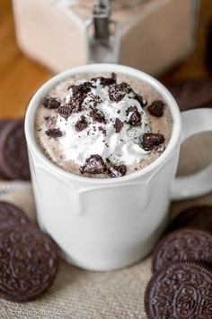 The addition of Oreos is the perfect touch in this Cookies and Cream Hot Chocolate! It's the creamiest, dreamiest chocolate drink ever.