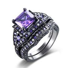 black gun color zircon pink purple fashion lady finger rings
