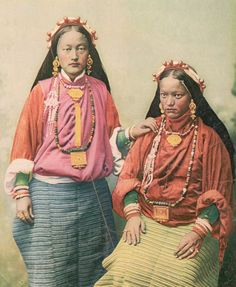 Tibetan women adorned