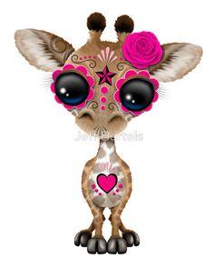 Pink Day of the Dead Sugar Skull Baby Giraffe | Jeff Bartels