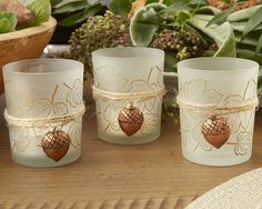 Buy Kate Aspen Leaf Print Tealight Holder w/ Copper Acorn Charm (Set of and other party favors and personalized gifts.