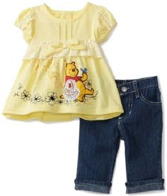 Amazon.com: Disney Baby-Girls Infant Winnie 2 Piece Denim Pant Set: Clothing