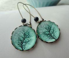 Aqua Winter Tree Earrings Black Branches Gift by WearitoutJewelz, $22.00