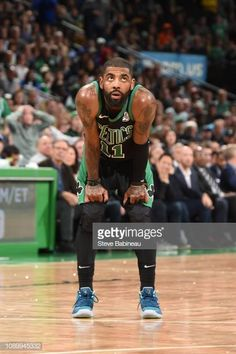 1c51ec77064 Kyrie Irving of the Boston Celtics looks on during the game against the  Golden State Warriors on January 2019 at the TD Garden in Boston