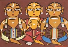 Jamini Roy IGNCA His name means beautiful relaxing night. And his beautiful paintings somehow lives up to meaning of his. India Painting, Mural Painting, Mural Art, Phad Painting, Fabric Painting, Modern Indian Art, Indian Folk Art, Modern Art, Contemporary