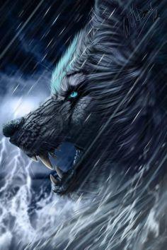 Lobo en la tormenta