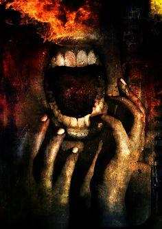Upon Deaf Ears by *danverkys on deviantART Deaf Art, Creepy, Scary, Horror Artwork, Dark Images, Deaf Culture, Macabre, Dark Fantasy, Digital Photography