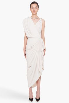 ivory tone drape dress ▲ lanvin