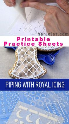 Practicing piping with royal icing using Printable Practice Sheets. Video and Free Templates. Practice piping with my royal icing practice sheets. You'll also learn how to cut a disposable piping bag, how to pipe a straight line and Royal Icing Templates, Royal Icing Transfers, Piping Templates, Royal Icing Piping, Sugar Cookie Royal Icing, Royal Icing Decorated Cookies, Royal Frosting, Galletas Cookies, Cupcake Cookies