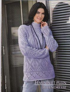 Теплый пуловер спицами с воротником гольф. Женский пуловер спицами с узором ромбы |