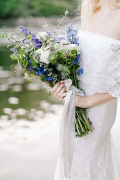 blue and white wildflower style bouquet