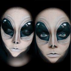 alien makeup for halloween Sfx Makeup, Costume Makeup, Clown Makeup, Easy Makeup, Allien Costume, Devil Makeup, Witch Makeup, Amazing Makeup, Pretty Makeup