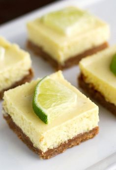 Key Lime Pie Bars - Creamy, smooth, and so flavorful. Unintentionally doubled pecans - a big hit! Key Lime Desserts, Köstliche Desserts, Delicious Desserts, Key Lime Dessert Recipes Easy, Lemon Desserts, Key Lime Pie Bars, Mini Key Lime Pies, Key Lime Dessert Bars, Key Lime Squares