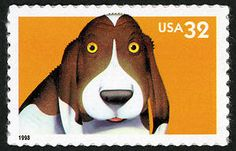32-cent Dog stamp from the August 20, 1998 Bright Eyes issue.