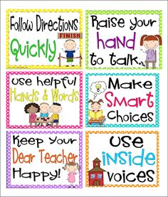 Inspired by Kindergarten: Rules Posters and a Lunch Packet that will save you time!