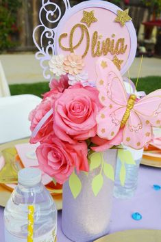 Gorgeous centerpiece at a fairy birthday party! See more party ideas at CatchMyParty.com!