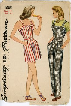 1940s Playsuit Pattern Simplicity 1365 Bust 32 by CynicalGirl, $46.00