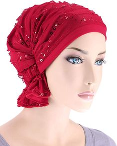 Abbey Cap Women s Chemo Hat Beanie Scarf Turban Headwear for Cancer Ruffle  Red Sequin d14ecd37b842