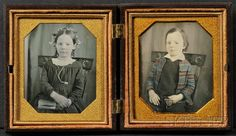 Two Sixth Plate Daguerreotype Portraits of A Boy and a Girl