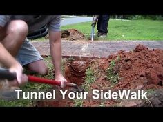 How To Tunnel Sidewalk in Under 10 Minutes Sump Pump Drainage, Gutter Drainage, Backyard Drainage, Landscape Drainage, Drainage Pipe, Sidewalk Landscaping, Home Landscaping, Backyard Projects, Outdoor Projects