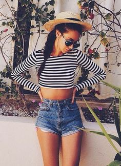 #summer #fashion / stripes + denim shorts