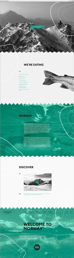 "Amazing concept for a danish restaurant, inviting the user to ""scroll North"", to discover the northern Countries. Loving the Scrolling up instead of down!"
