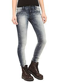 HOTTOPIC.COM - LOVEsick Indigo Acid Wash Super Skinny Jeggings