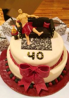 fondant 40th birthday cake, what women wouldn't want a hot guy for her 40th birthday? lol!