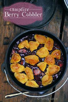 Dutch Oven Recipes: Campfire Berry Cobbler by FamilySpice.com