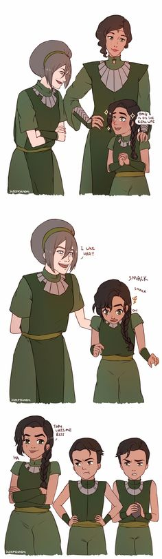"""Inspired by kuvirsass's headcanon about how toph probably taught kuvira some metalbending; kuv was probably a very precocious child and i bet toph liked that. also i love the idea of kuvira & the twins being metalbending buddies and sparring together since they were the only kids who did metalbending as a physical activity. AND CAN U IMAGINE when kuvira becomes a zaofu guard and wears her uniform for the first time, and showing the twins, with the twins being all """"WOW BIG SIS IS SO AMAZIN"""""""
