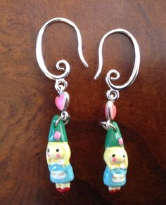 Little girl GNOME earrings. Lucky earrings. Garden gnome earrings. Elf pixies sprite earrings. Santa earrings. Gnome charm. Ireland Magic by ArtisticEarsByPeggy on Etsy