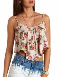 floral print swing crop top
