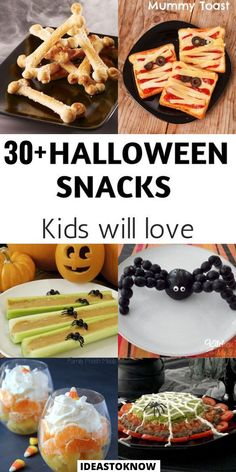 Comida De Halloween Ideas, Halloween Fingerfood, Postres Halloween, Halloween Snacks For Kids, Halloween Baking, Halloween Food For Party, Decorations For Halloween, Easy Halloween Appetizers, Garage Halloween Party