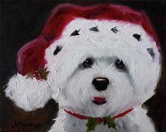 Sparrow Westie West Highland Terrier Dog Santa Christmas Holiday Art Painting | eBay