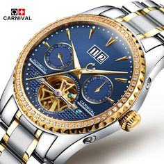 91.62$  Buy now - http://aliqq7.worldwells.pw/go.php?t=32715988542 - 2016 Men Self Winding Mechanical Watch Carnival Luxury Brand Watches stainless steel Automatic Men Watches Relogio Masculino