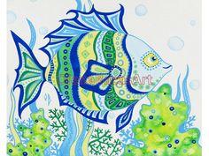 Green Blue Fish ORIGINAL Nautical Painting Ocean Illustration Sea Creatures Mixed Media Ocean Kids Baby Nursery Room Boy. $40.00, via Etsy.
