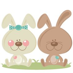 Boy and Girl Easter Bunny scrapbook cuts SVG cutting files doodle cut files for scrapbooking clip art clipart doodle cut files for cricut free svg cuts