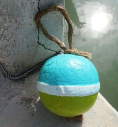 Turquoise and lime green boating buoy!     Fishing boating nursery decor beach nautical buoy turquoise lime rope