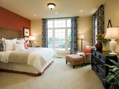 Bedroom of the Eversley model offered by David Cutler Group at Montgomery Walk in Montgomery Township, Montgomery County, PA.