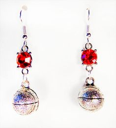 1338 - Basketball earrings, basketball jewelry, basketball charm, basketball, red glass bead, sports earrings, sports jewelry, charm earring by EarringsBraceletsEtc on Etsy