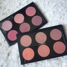 """Mac blushes: •Well Dressed •Rosy Outlook •Fleur Power •Dollymix •Desert Rose •Breath of Plum  Bottom palette (L2R): •Melba •Margin •Blush Baby •Modern Mandarin •Peaches •Springsheen"""""""