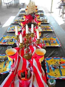 Image detail for -up with creative ideas can be challenging 1 pirate party Pirate Fairy Party, Pirate Halloween Party, Pirate Birthday, 5th Birthday, Pirate Party Centerpieces, Pirate Minion, Halloween Candelabra, Pirate Baby, Minion Party
