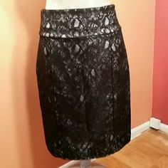 H&M Lace Pencil Skirt Like New condition.  Back zipper closure with one button to secure zipper.  Black lace with white silk underlay in excellent condition. H&M Skirts Pencil