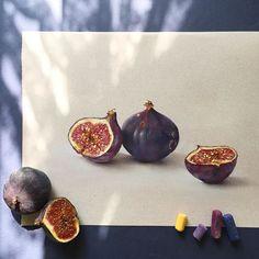 Инжир готов Бумага Canson, пастель Schmincke #пастель #инжир #арт #рисуюпастелью #фрукты #softpastel #softpastels #cansonpaper #canson #figs