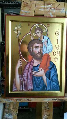 Byzantine Icons, Byzantine Art, Madonna And Child, Holy Family, Orthodox Icons, St Joseph, Religious Art, Art And Architecture, Ikon