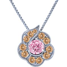 Pink Sapphire and Diamonds, 10k White Gold Gemstone Pendant with Chain