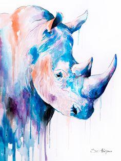 Blue Rhino Art Print